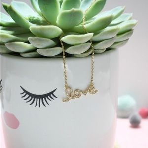 Crystal Love Script Gold Necklace